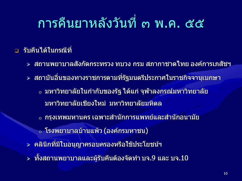 การคืนยาหลังวันที่ ๓ พ.ค. ๕๕  รับคืนได้ในกรณีที่  สถานพยาบาลสังกัดกระทรวง ทบวง กรม สภากาชาดไทย องค์การเภสัชฯ  สถาบันอื่นของทางราชการตามที่รัฐมนตรีป