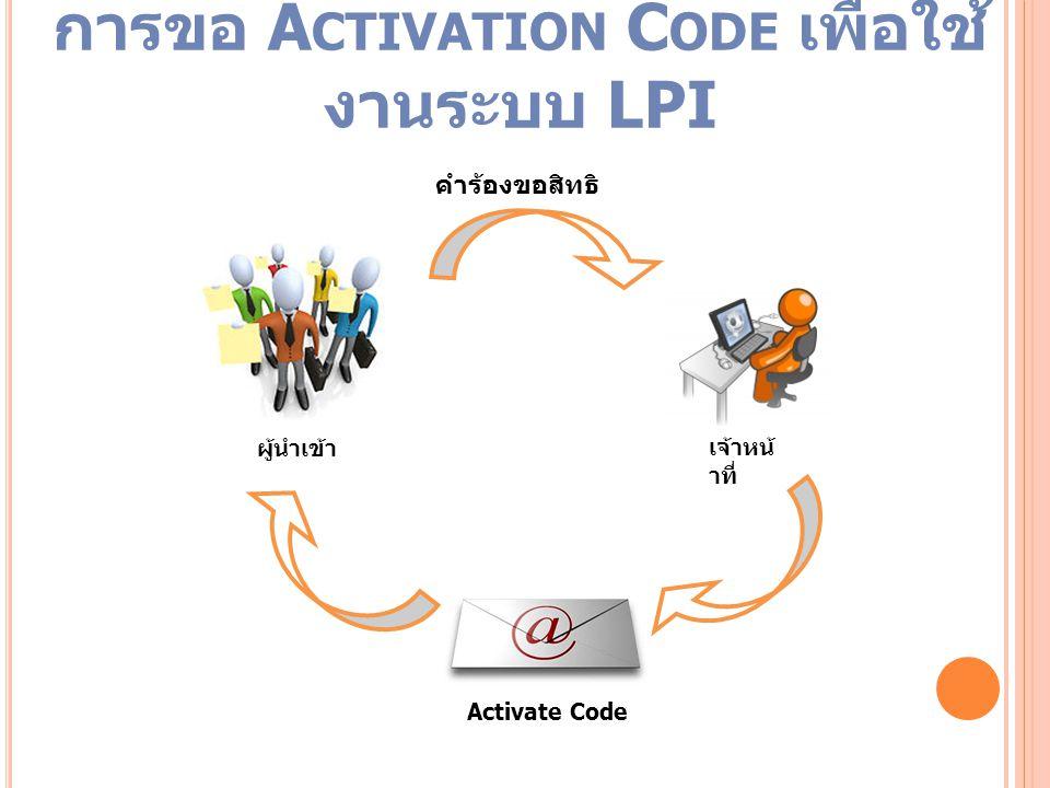 Activate Code คำร้องขอสิทธิ ผู้นำเข้า เจ้าหน้ าที่ การขอ A CTIVATION C ODE เพื่อใช้ งานระบบ LPI