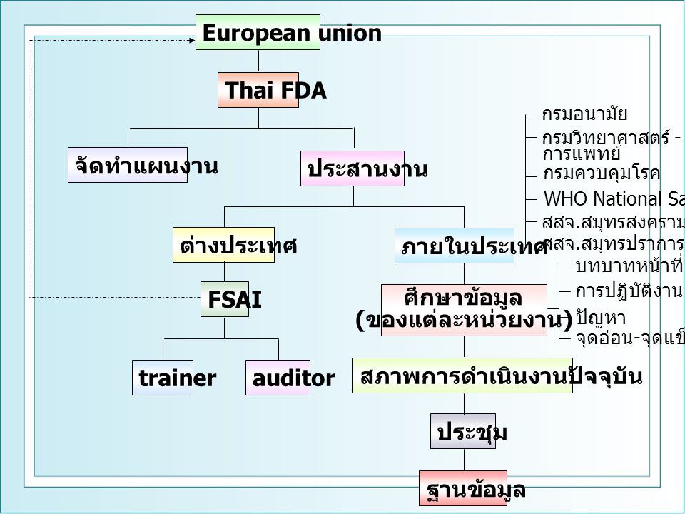 Thai FDAPartners Work shop เปรียบเทียบ Work shop กับสถานการณ์ปัจจุบัน FSAI จัดตั้ง FAST ทดสอบระบบ FAST ปรับปรุง FAST ตรวจสอบ FAST ระบบ FAST ผิดพลาด Introduction of RASFF การบริหารจัดการ RASFF การดำเนินงาน & เชื่อมโยง