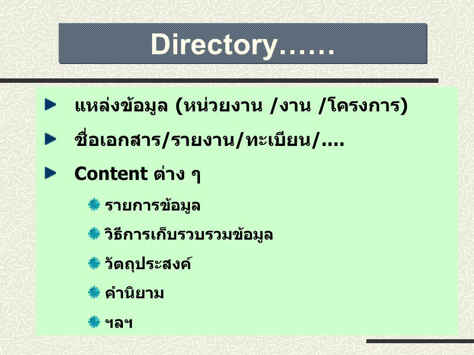 แหล่งข้อมูล (หน่วยงาน /งาน /โครงการ) ชื่อเอกสาร/รายงาน/ทะเบียน/.... Content ต่าง ๆ รายการข้อมูล วิธีการเก็บรวบรวมข้อมูล วัตถุประสงค์ คำนิยาม ฯลฯ Direc