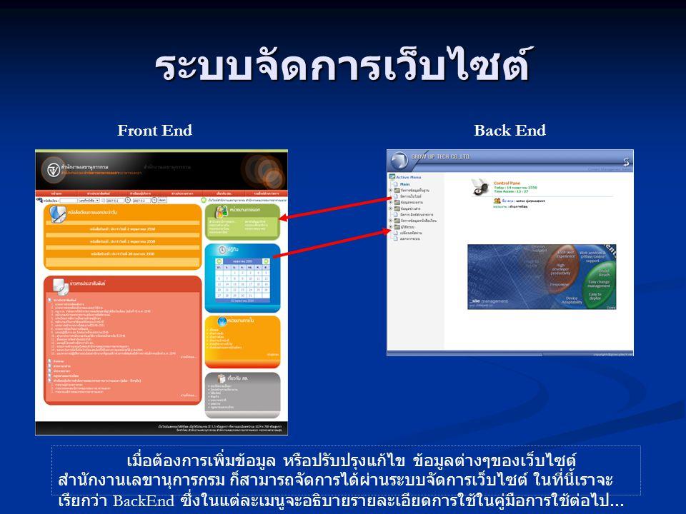 ระบบจัดการเว็บไซต์ Front EndBack End เมื่อต้องการเพิ่มข้อมูล หรือปรับปรุงแก้ไข ข้อมูลต่างๆของเว็บไซต์ สำนักงานเลขานุการกรม ก็สามารถจัดการได้ผ่านระบบจั
