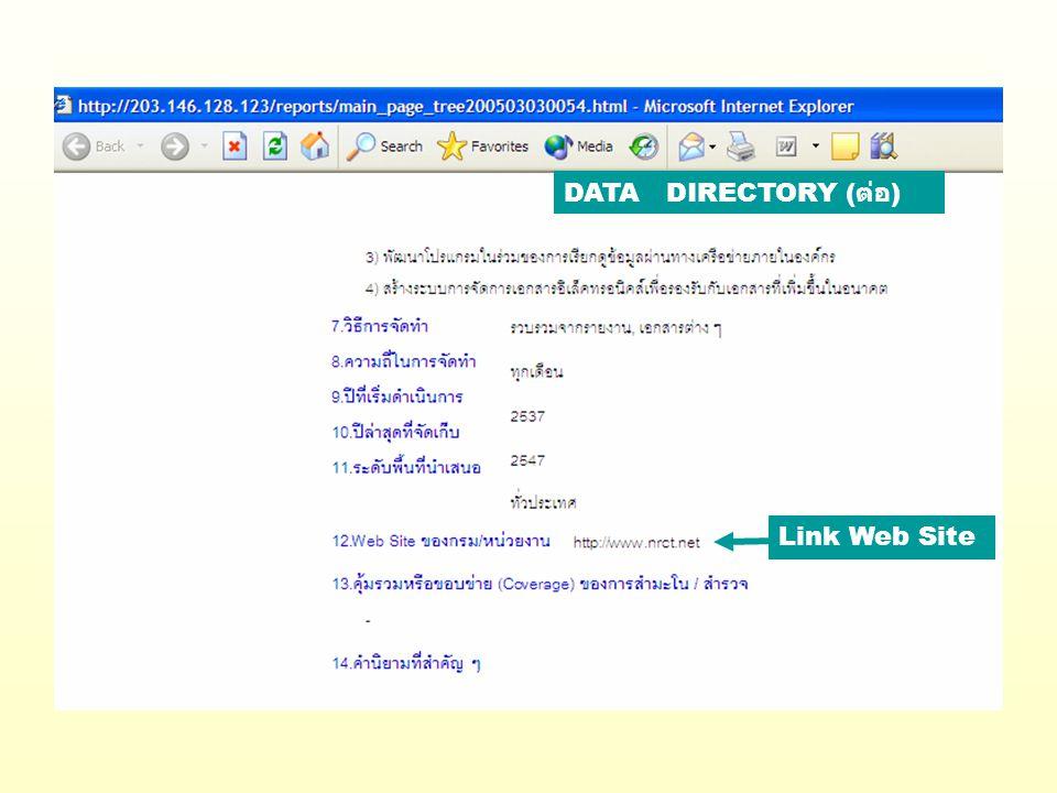 DATA DIRECTORY ( ต่อ ) Link Web Site