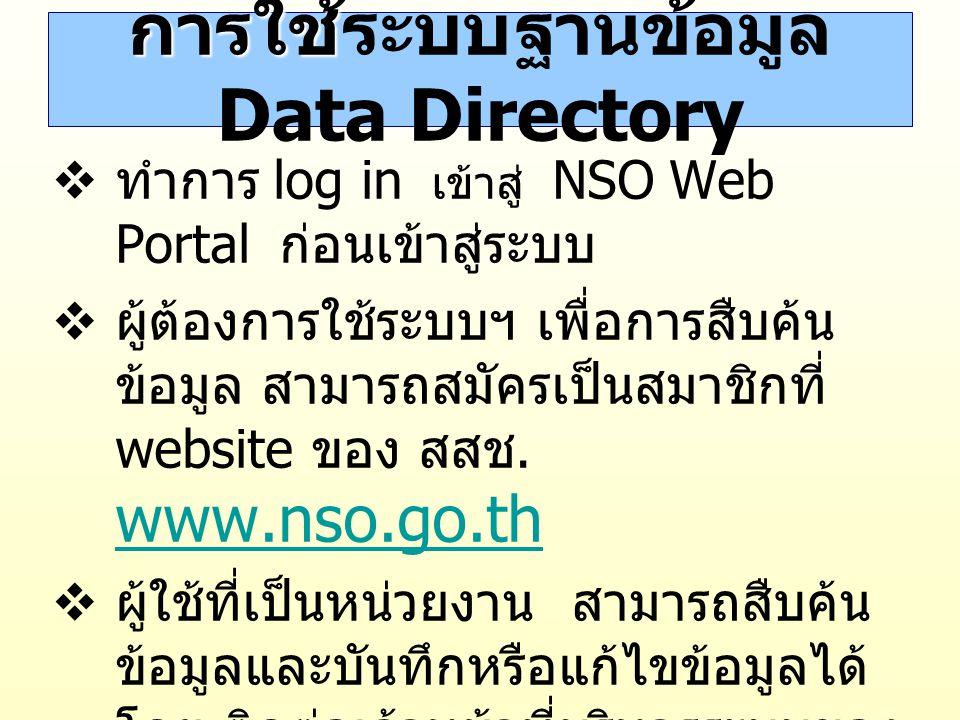 ข้อแนะนำการใช้ ข้อแนะนำการใช้ระบบ ฐานข้อมูล Data Directory  โครงสร้างของระบบเป็นการทำงาน แบบ tree  Web Browser ที่เหมาะกับการใช้งาน ควรเป็น Internet Explorer 6.0 ขึ้นไป  กรณีที่ไม่สามารถเรียกดูหน้าจอเมื่อ กดปุ่ม แสดงข้อมูล เพื่อแสดง Data Directory ให้ set ที่ tools  internet options  Security ใน Trusted site ให้ระบุชื่อ site เป็น http://service.nso.go.th http://service.nso.go.th
