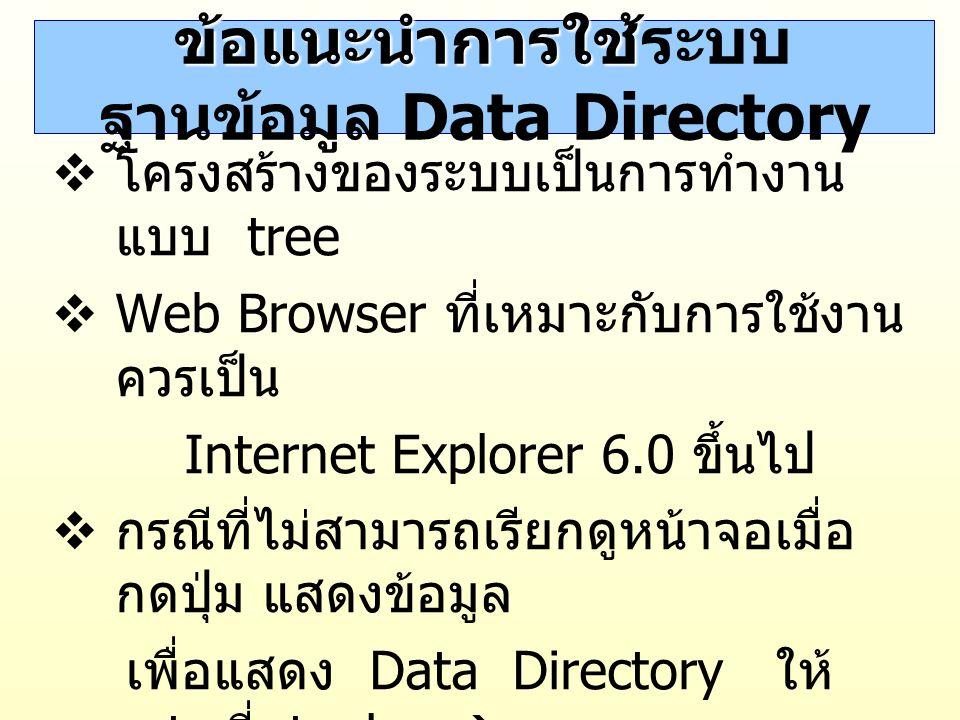 ข้อแนะนำการใช้ ข้อแนะนำการใช้ระบบ ฐานข้อมูล Data Directory  โครงสร้างของระบบเป็นการทำงาน แบบ tree  Web Browser ที่เหมาะกับการใช้งาน ควรเป็น Internet