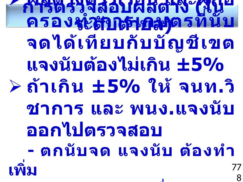 การตรวจสอบผลต่าง ( ใน ระดับตำบล ) 778  ผลต่างครัวเรือน และผู้ถือ ครองทำการเกษตรที่นับ จดได้เทียบกับบัญชีเขต แจงนับต้องไม่เกิน ±5%  ถ้าเกิน ±5% ให้ จ