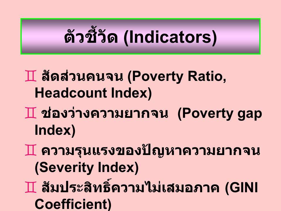 ตัวชี้วัด (Indicators)  สัดส่วนคนจน (Poverty Ratio, Headcount Index)  ช่องว่างความยากจน (Poverty gap Index)  ความรุนแรงของปัญหาความยากจน (Severity Index)  สัมประสิทธิ์ความไม่เสมอภาค (GINI Coefficient)  รายได้ / ค่าใช้จ่ายเฉลี่ย (Mean Income / Consumption)  ความคลาดเคลื่อนมาตรฐาน (Standard error) ของแต่ละตัวชี้วัด