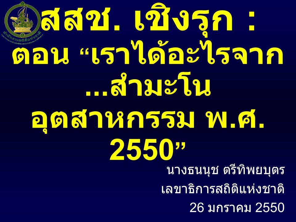 """สสช. เชิงรุก : ตอน """" เราได้อะไรจาก... สำมะโน อุตสาหกรรม พ. ศ. 2550 """" นางธนนุช ตรีทิพยบุตร เลขาธิการสถิติแห่งชาติ 26 มกราคม 2550"""