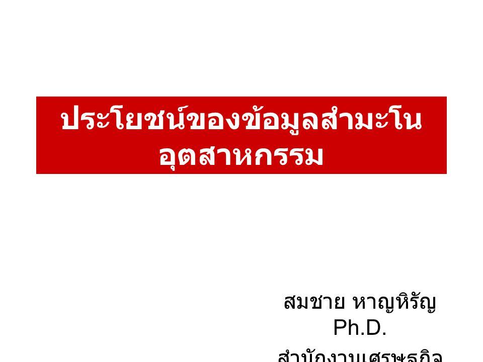 ประโยชน์ของข้อมูลสำมะโน อุตสาหกรรม สมชาย หาญหิรัญ Ph.D. สำนักงานเศรษฐกิจ อุตสาหกรรม