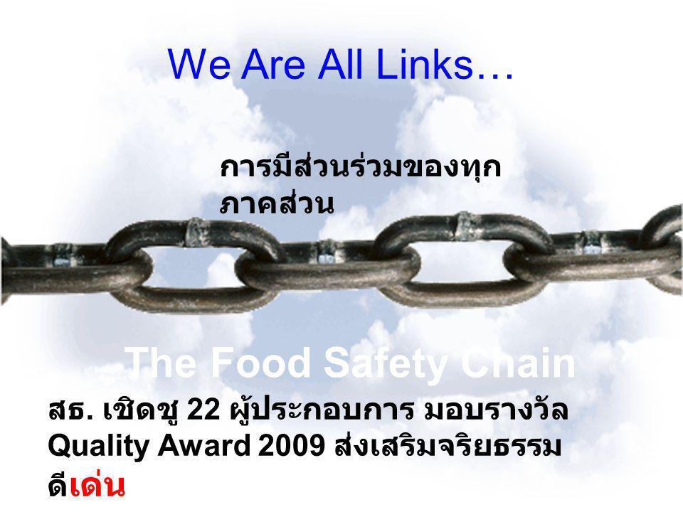 We Are All Links… The Food Safety Chain การมีส่วนร่วมของทุก ภาคส่วน สธ. เชิดชู 22 ผู้ประกอบการ มอบรางวัล Quality Award 2009 ส่งเสริมจริยธรรม ดี เด่น