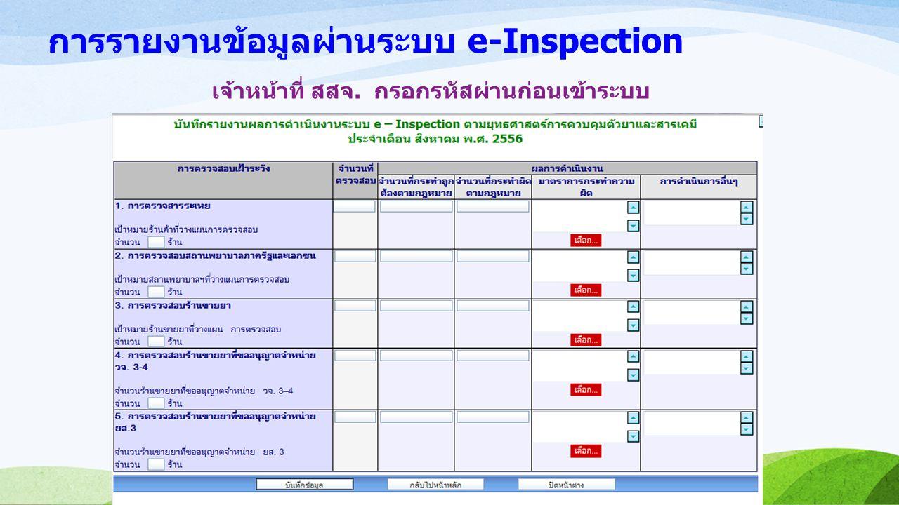 การรายงานข้อมูลผ่านระบบ e-Inspection เจ้าหน้าที่ สสจ. กรอกรหัสผ่านก่อนเข้าระบบ