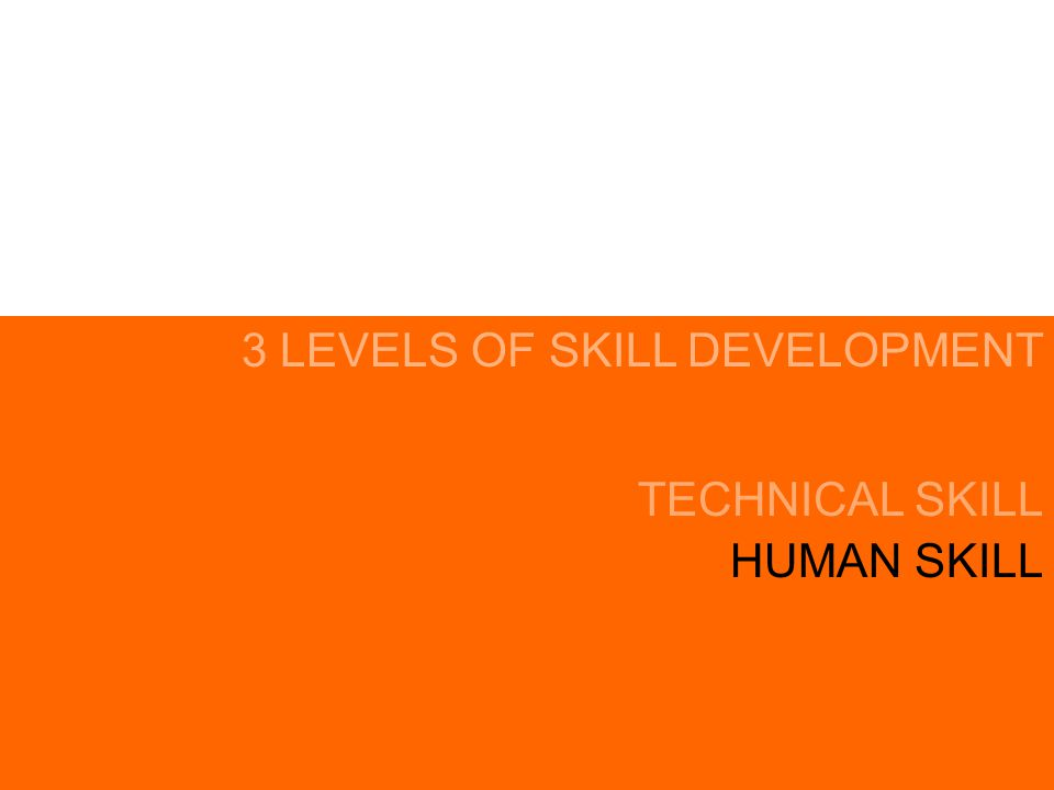 HUMAN SKILL TECHNICAL SKILL 3 LEVELS OF SKILL DEVELOPMENT CONCEPTUAL SKILL