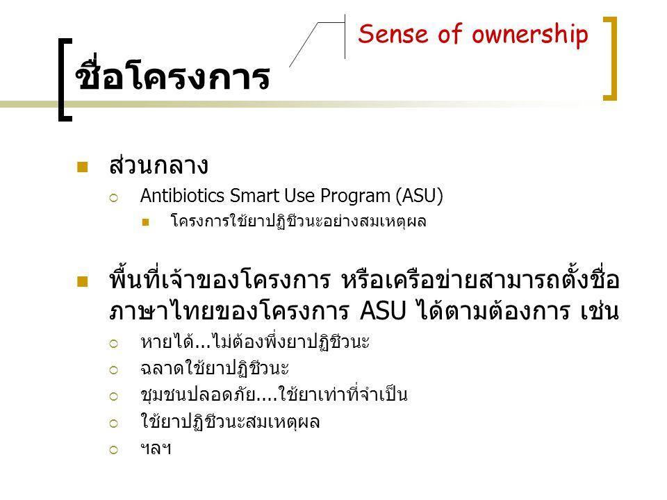 ชื่อโครงการ ส่วนกลาง  Antibiotics Smart Use Program (ASU) โครงการใช้ยาปฏิชีวนะอย่างสมเหตุผล พื้นที่เจ้าของโครงการ หรือเครือข่ายสามารถตั้งชื่อ ภาษาไทย