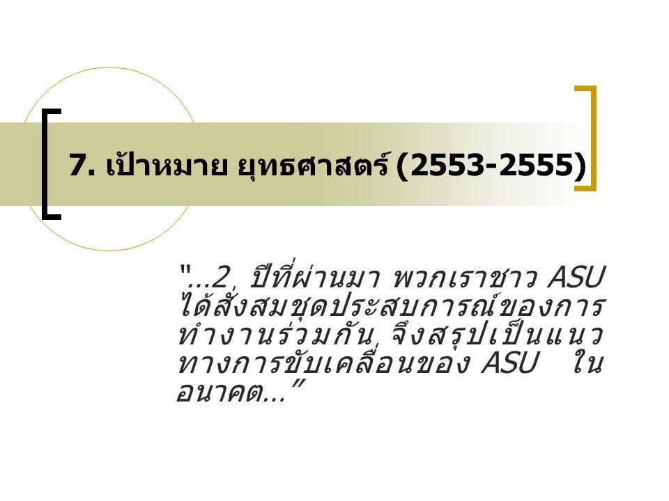 """7. เป้าหมาย ยุทธศาสตร์ (2553-2555) """"…2 ปีที่ผ่านมา พวกเราชาว ASU ได้สั่งสมชุดประสบการณ์ของการ ทำงานร่วมกัน จึงสรุปเป็นแนว ทางการขับเคลื่อนของ ASU ใน อ"""