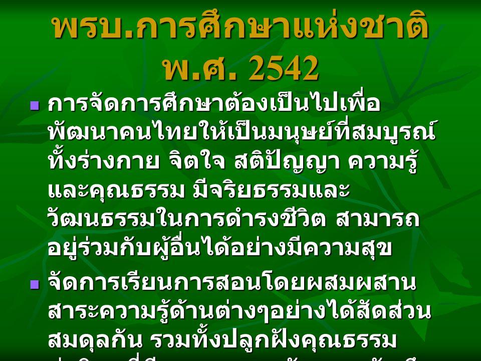 พรบ. การศึกษาแห่งชาติ พ. ศ. 2542 การจัดการศึกษาต้องเป็นไปเพื่อ พัฒนาคนไทยให้เป็นมนุษย์ที่สมบูรณ์ ทั้งร่างกาย จิตใจ สติปัญญา ความรู้ และคุณธรรม มีจริยธ