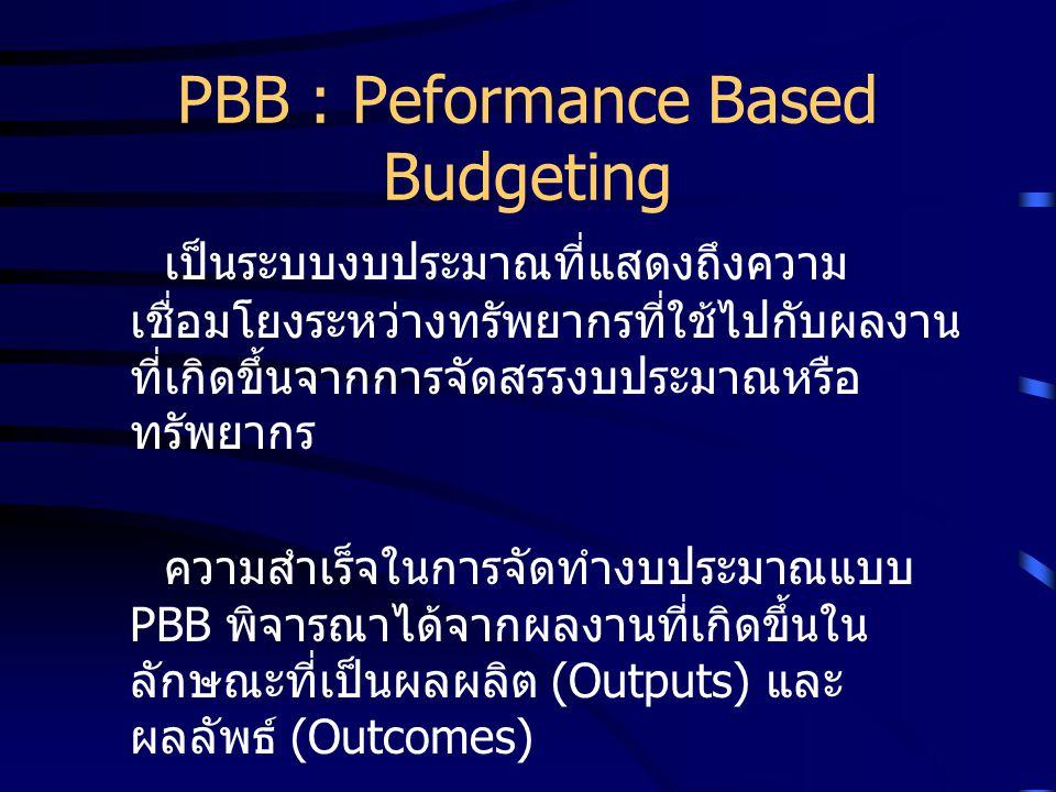 PBB : Peformance Based Budgeting เป็นระบบงบประมาณที่แสดงถึงความ เชื่อมโยงระหว่างทรัพยากรที่ใช้ไปกับผลงาน ที่เกิดขึ้นจากการจัดสรรงบประมาณหรือ ทรัพยากร