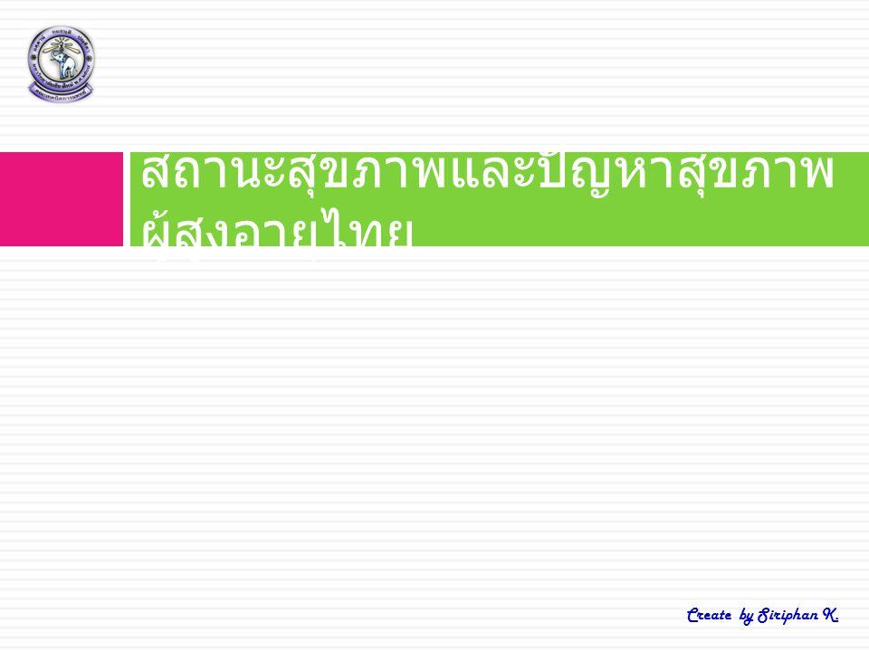 สถานะสุขภาพและปัญหาสุขภาพ ผู้สูงอายุไทย Create by Siriphan K.