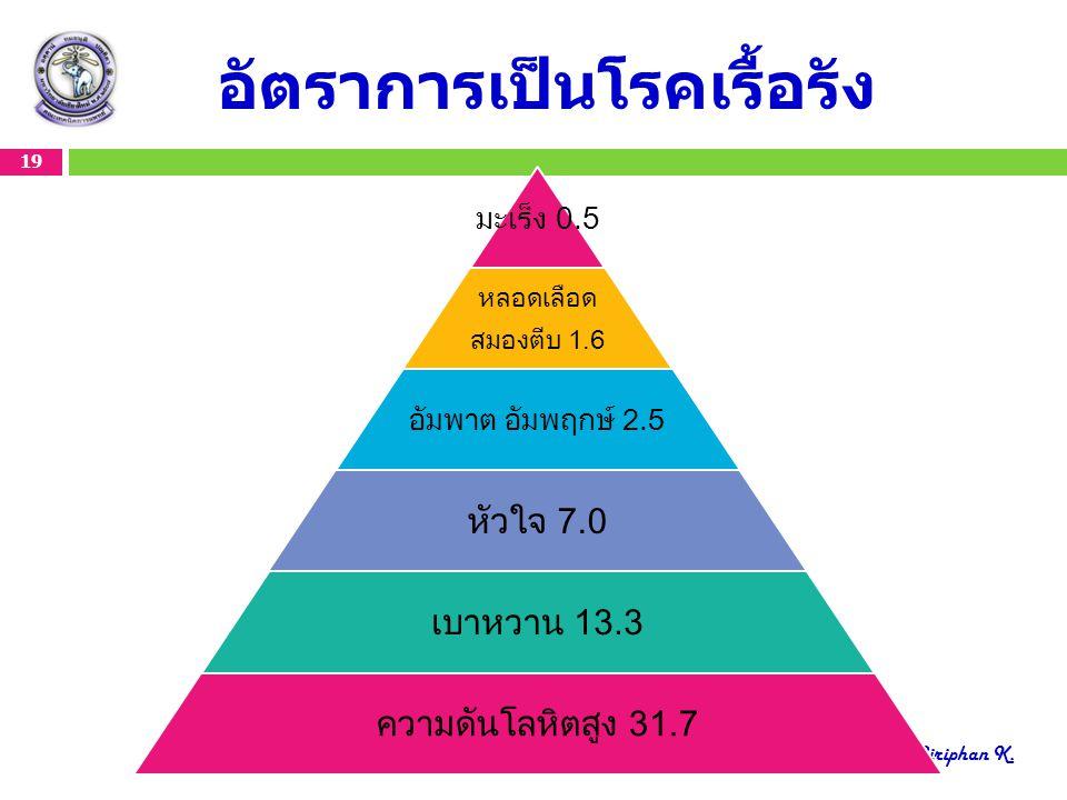 อัตราการเป็นโรคเรื้อรัง 19 Create by Siriphan K. มะเร็ง 0.5 หลอดเลือด สมองตีบ 1.6 อัมพาต อัมพฤกษ์ 2.5 หัวใจ 7.0 เบาหวาน 13.3 ความดันโลหิตสูง 31.7