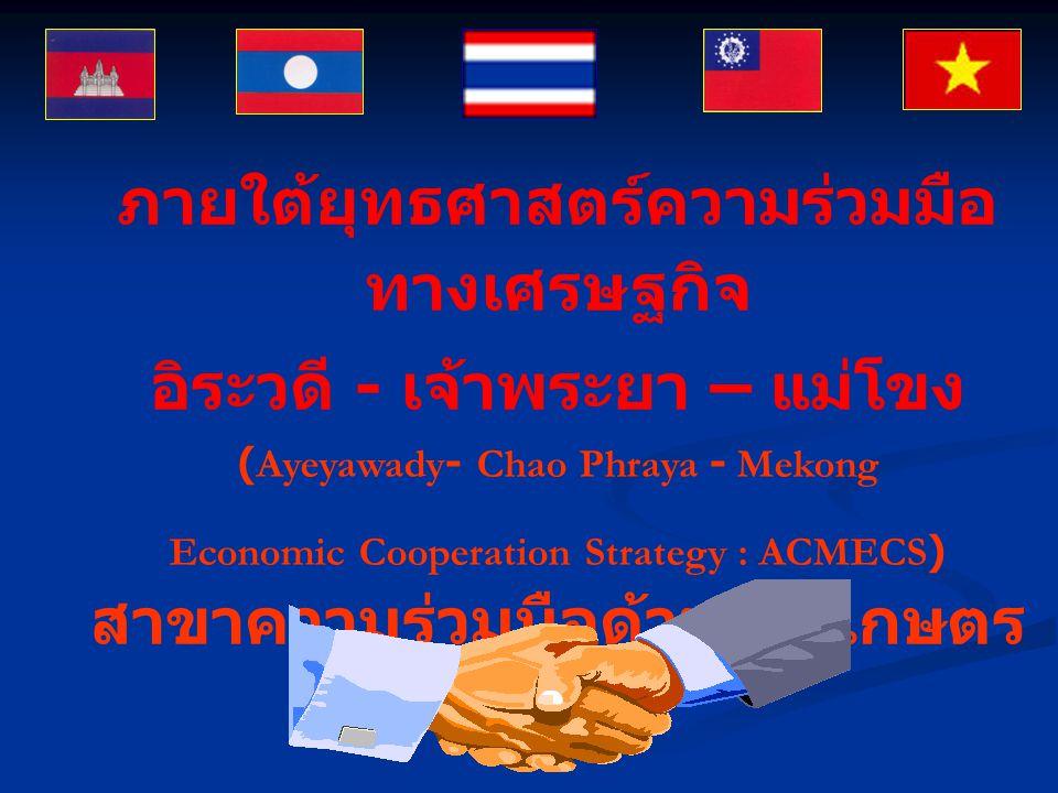 ภายใต้ยุทธศาสตร์ความร่วมมือ ทางเศรษฐกิจ อิระวดี - เจ้าพระยา – แม่โขง (Ayeyawady- Chao Phraya - Mekong Economic Cooperation Strategy : ACMECS) สาขาความร่วมมือด้านการเกษตร