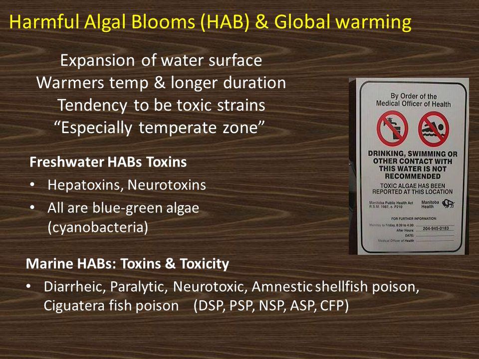 Marine HABs: Toxins & Toxicity Diarrheic, Paralytic, Neurotoxic, Amnestic shellfish poison, Ciguatera fish poison (DSP, PSP, NSP, ASP, CFP) Freshwater
