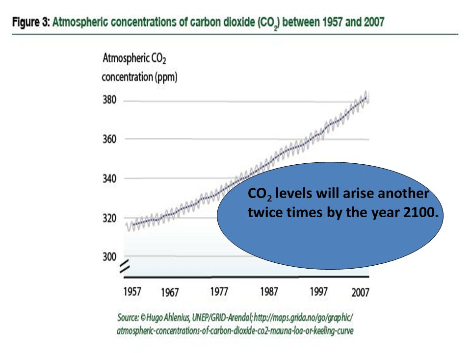 CO 2 levels will arise another twice times by the year 2100.