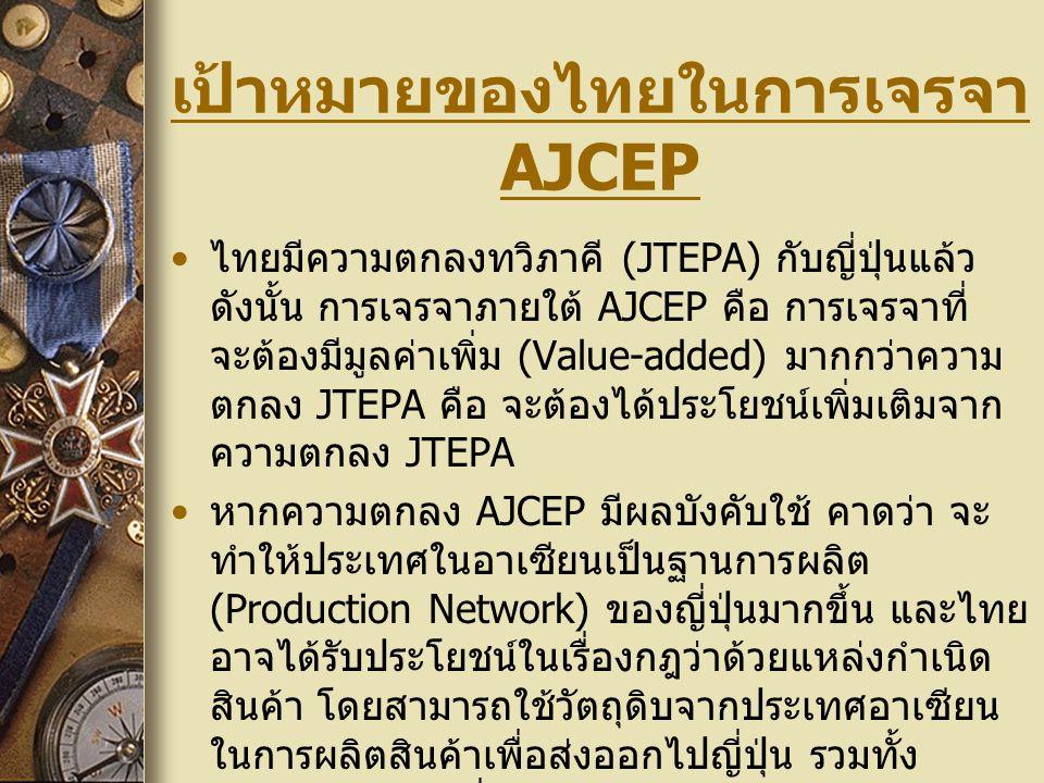เป้าหมายของไทยในการเจรจา AJCEP ไทยมีความตกลงทวิภาคี (JTEPA) กับญี่ปุ่นแล้ว ดังนั้น การเจรจาภายใต้ AJCEP คือ การเจรจาที่ จะต้องมีมูลค่าเพิ่ม (Value-add