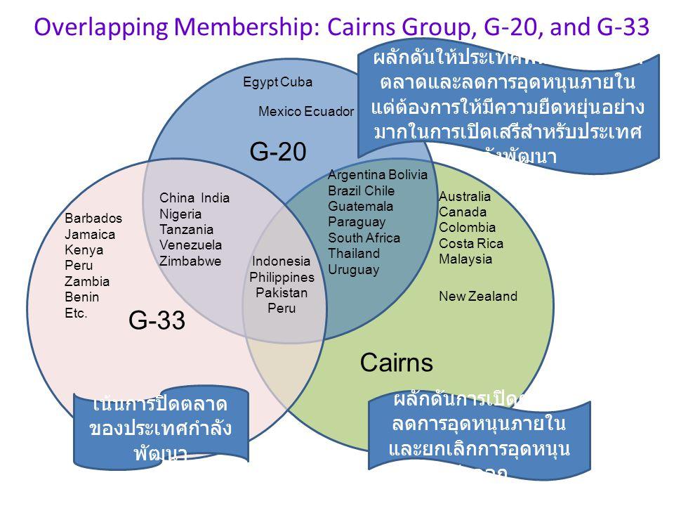 Overlapping Membership: Cairns Group, G-20, and G-33 Barbados Jamaica Kenya Peru Zambia Benin Etc. Australia Canada Colombia Costa Rica Malaysia Egypt