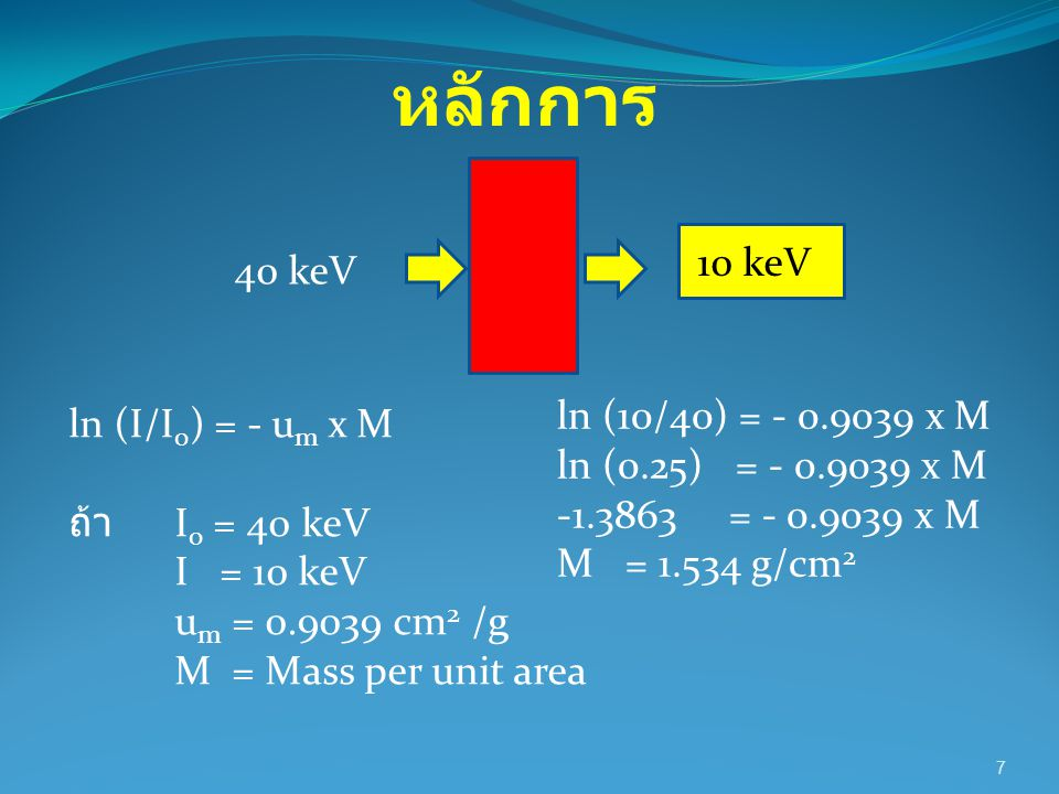 7 10 keV 40 keV ln (I/I 0 ) = - u m x M ถ้า I 0 = 40 keV I = 10 keV u m = 0.9039 cm 2 /g M = Mass per unit area ln (10/40) = - 0.9039 x M ln (0.25) =