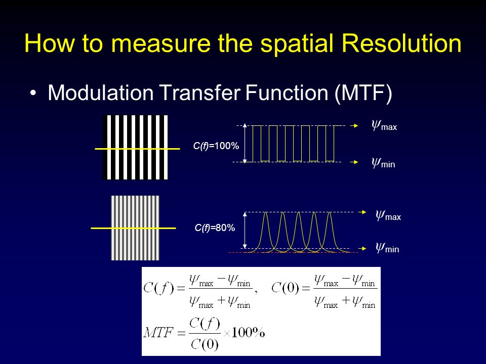 How to measure the spatial Resolution Modulation Transfer Function (MTF) ψ max ψ min ψ max ψ min C(f)=100% C(f)=80%