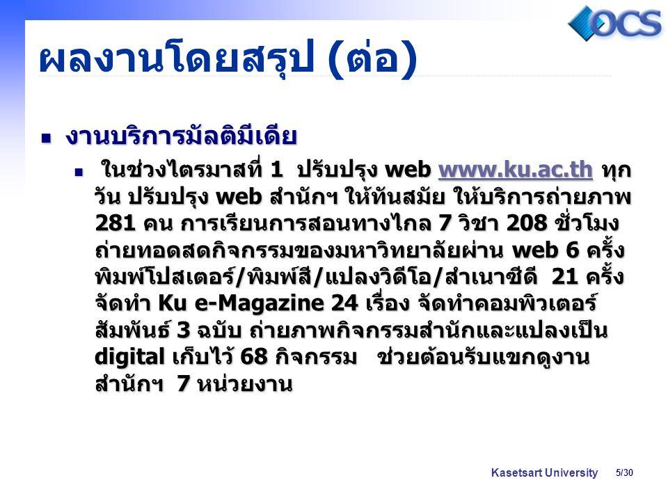 5/30 Kasetsart University ผลงานโดยสรุป ( ต่อ ) งานบริการมัลติมีเดีย งานบริการมัลติมีเดีย ในช่วงไตรมาสที่ 1 ปรับปรุง web www.ku.ac.th ทุก วัน ปรับปรุง