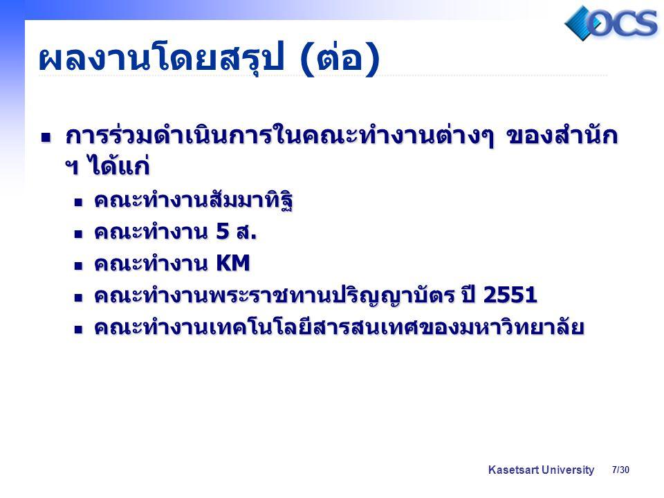 8/30 Kasetsart University สถิติ / รายละเอียด การ ดำเนินงาน ที่รายงาน ต.ค.ต.ค.ต.ค.ต.ค.