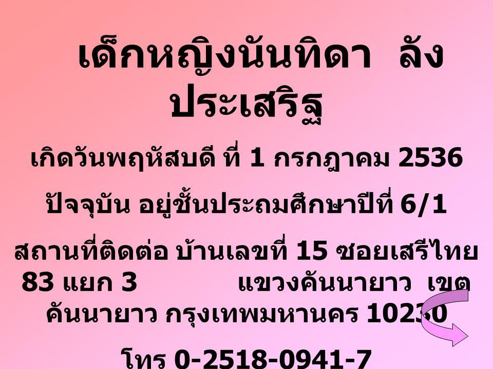 เด็กหญิงนันทิดา ลัง ประเสริฐ เกิดวันพฤหัสบดี ที่ 1 กรกฎาคม 2536 ปัจจุบัน อยู่ชั้นประถมศึกษาปีที่ 6/1 สถานที่ติดต่อ บ้านเลขที่ 15 ซอยเสรีไทย 83 แยก 3 แ