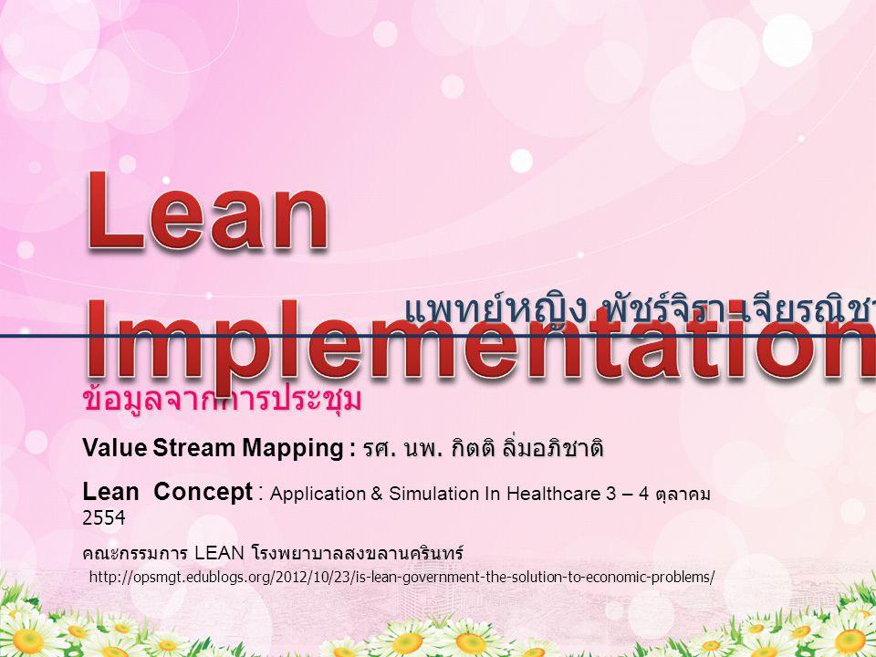 แนวทางในการนำแนวคิด ลีนมาปรับใช้ นโยบายจากผู้บริหารระดับสูง หัวหน้าหน่วยงาน Sensei (Guru) ผู้รู้ ผู้เชี่ยวชาญ ถ่ายทอด เรียนรู้ ทำความเข้าใจ เกี่ยวกับแนวคิด Lean จากการฟังบรรยาย อบรมเชิงปฏิบัติการ (work shop, game simulation) Lean Facilitator หัวหน้าหน่วยงาน เห็นปัญหา เห็นด้วยกับแนวคิดลีนและต้องปรับปรุง กระบวนการทำงาน ดำเนินการ Lean project – Project owner, Team ติดตามความก้าวหน้า ปรับปรุงเป็นระยะ ๆ (Kaizen) อย่างสม่ำเสมอ นำโครงการ ร่วมกัน ชื่นชม พิจารณาปรับปรุง Continuous Improvement  PDCA