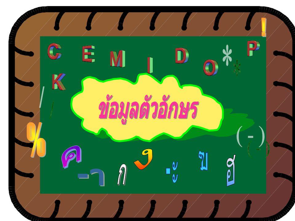 ข้อมูลตัวอักขระ คือ ข้อมูลที่ประกอบด้วยตัว อักขระ และตัวเลขที่ไม่ใช้ ในการคำนวณ ทั้ง ภาษาไทย ภาษาอังกฤษ และภาษาต่างประเทศเช่น ทะเบียนรถยนต์ ชื่อ นามสก