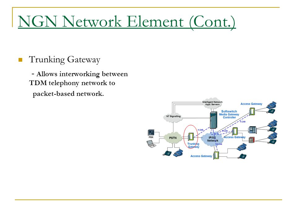 NGN Network Element (Cont.) Trunking Gateway - Allows interworking between TDM telephony network to packet-based network.