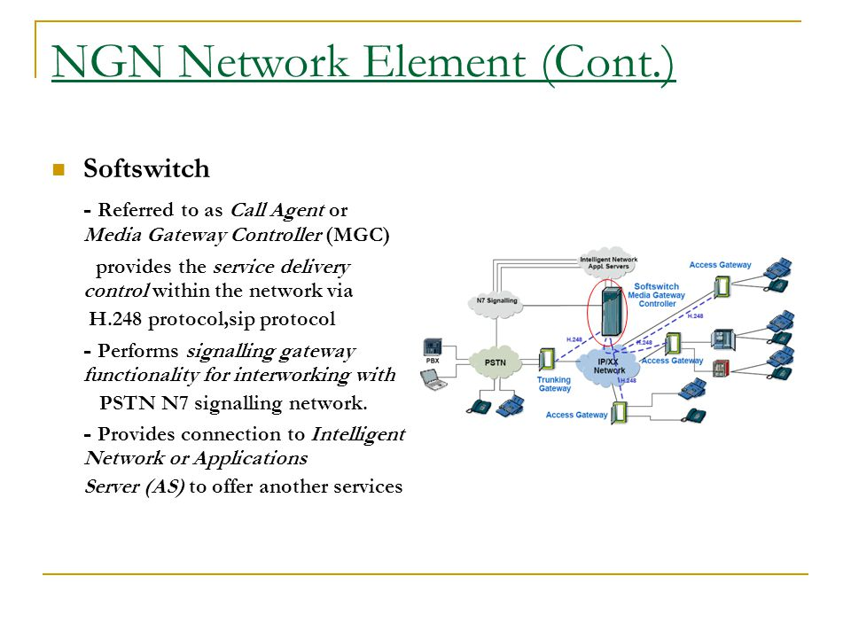 NGN Network Element (Cont.) Softswitch - Referred to as Call Agent or Media Gateway Controller (MGC) provides the service delivery control within the