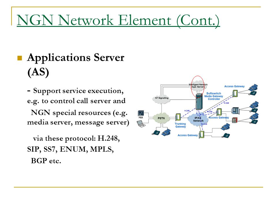 NGN Network Element (Cont.) Applications Server (AS) - Support service execution, e.g. to control call server and NGN special resources (e.g. media se