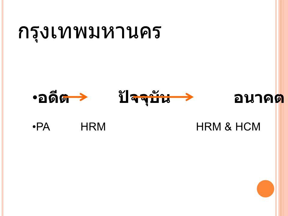 กรุงเทพมหานคร อดีตปัจจุบันอนาคต PA HRM HRM & HCM
