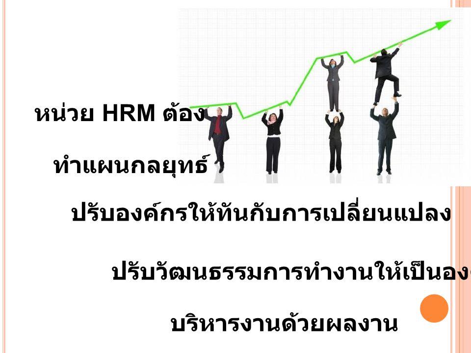 หน่วย HRM ต้อง ทำแผนกลยุทธ์ ปรับองค์กรให้ทันกับการเปลี่ยนแปลง ปรับวัฒนธรรมการทำงานให้เป็นองค์กรเรียนรู้ บริหารงานด้วยผลงาน