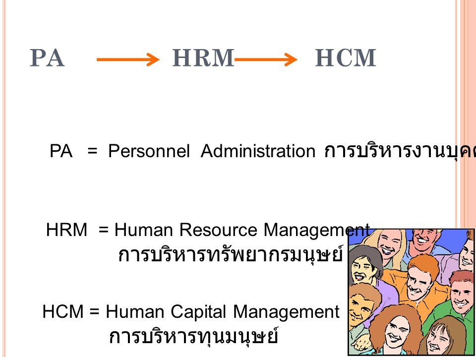PA - HRM PA คนเป็น input หนึ่ง เป็นค่าใช้จ่าย (cost) ดูตั้งแต่แรกเข้า จนออกไป เป็นวรจรการ บริหารคน สรรหาตาม ความต้องการที่ มี ไม่ให้ ความสำคัญ ด้านจิตใจ HRM คนเป็นทรัพยากร สำคัญในองค์การ ดูแลตั้งแต่ก่อน เข้า หลังเข้า และ พ้นจากไป มีการวางแผนสรร หา / คัดเลือก พัฒนา คน ให้ มีความรู้ ทักษะ มี วัฒนธรรมการ ทำงานที่ เหมาะสม