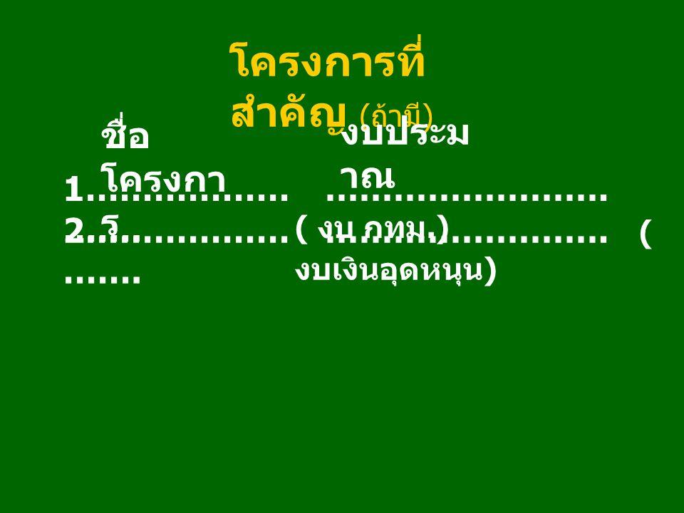 โครงการที่ สำคัญ ( ถ้ามี ) ชื่อ โครงกา ร งบประม าณ 1……………… ……. ……………………. ( งบ กทม.) 2……………… ……. ……………………. ( งบเงินอุดหนุน )