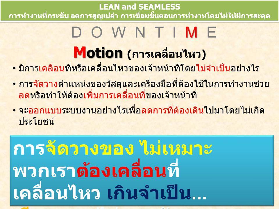 LEAN and SEAMLESS การทำงานที่กระชับ ลดการสูญเปล่า การเชื่อมขั้นตอนการทำงานโดยไม่ให้มีการสะดุด ข้อมูลจากการประชุมวิชาการ 10 th HA National Forum 10-13 มี.ค.52 M D O W N T I M E M otion M otion (การเคลื่อนไหว) มีการเคลื่อนที่หรือเคลื่อนไหวของเจ้าหน้าที่โดยไม่จำเป็นอย่างไร การจัดวางตำแหน่งของวัสดุและเครื่องมือที่ต้องใช้ในการทำงานช่วย ลดหรือทำให้ต้องเพิ่มการเคลื่อนที่ของเจ้าหน้าที่ จะออกแบบระบบงานอย่างไรเพื่อลดการที่ต้องเดินไปมาโดยไม่เกิด ประโยชน์ การจัดวางของ ไม่เหมาะ พวกเราต้องเคลื่อนที่ เคลื่อนไหว เกินจำเป็น...