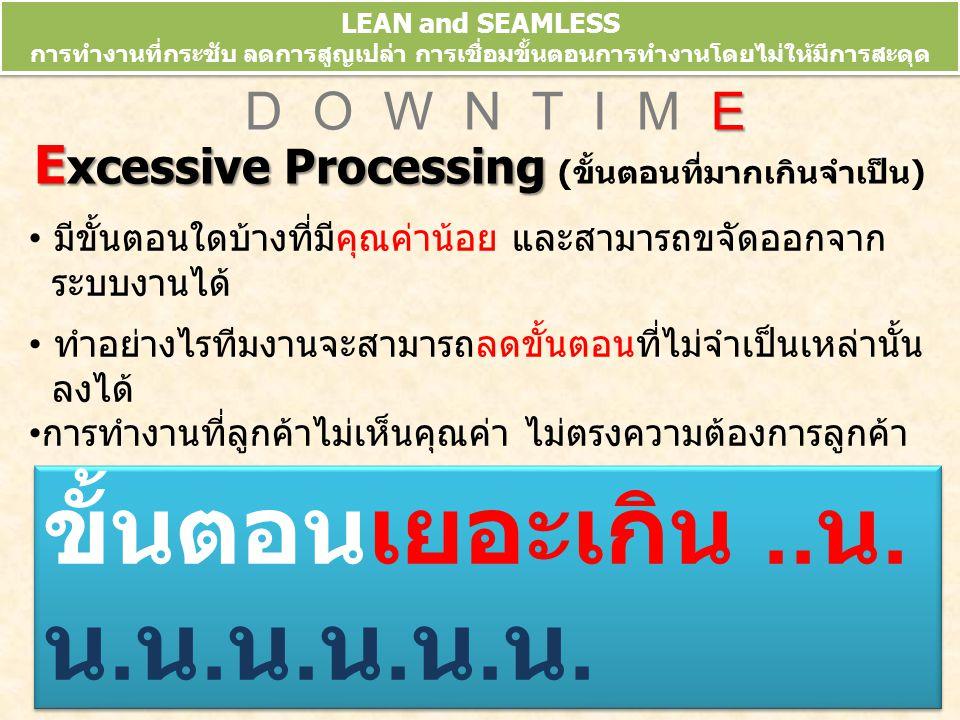 LEAN and SEAMLESS การทำงานที่กระชับ ลดการสูญเปล่า การเชื่อมขั้นตอนการทำงานโดยไม่ให้มีการสะดุด ข้อมูลจากการประชุมวิชาการ 10 th HA National Forum 10-13 มี.ค.52 E D O W N T I M E E xcessive Processing E xcessive Processing (ขั้นตอนที่มากเกินจำเป็น) มีขั้นตอนใดบ้างที่มีคุณค่าน้อย และสามารถขจัดออกจาก ระบบงานได้ ทำอย่างไรทีมงานจะสามารถลดขั้นตอนที่ไม่จำเป็นเหล่านั้น ลงได้ การทำงานที่ลูกค้าไม่เห็นคุณค่า ไม่ตรงความต้องการลูกค้า ขั้นตอนเยอะเกิน..