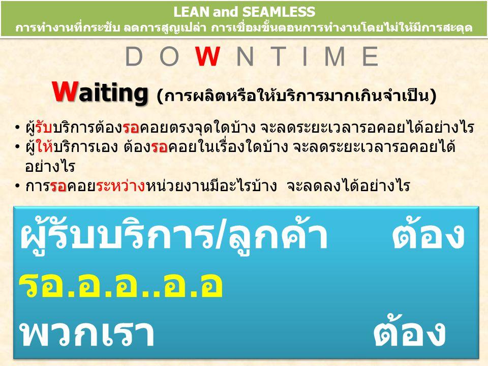 LEAN and SEAMLESS การทำงานที่กระชับ ลดการสูญเปล่า การเชื่อมขั้นตอนการทำงานโดยไม่ให้มีการสะดุด ข้อมูลจากการประชุมวิชาการ 10 th HA National Forum 10-13 มี.ค.52 N D O W N T I M E N ot using staff talent N ot using staff talent (ภูมิรู้ที่สูญเปล่า) มีความรู้ / ความคิด ของคนที่อยู่หน้างานใดบ้างที่ยังไม่ ถูกนำไปใช้ประโยชน์ จะสร้างกลไก / เวทีอย่างไรให้มีการนำมาใช้ประโยชน์ มากขึ้น คนของเราเก่ง...