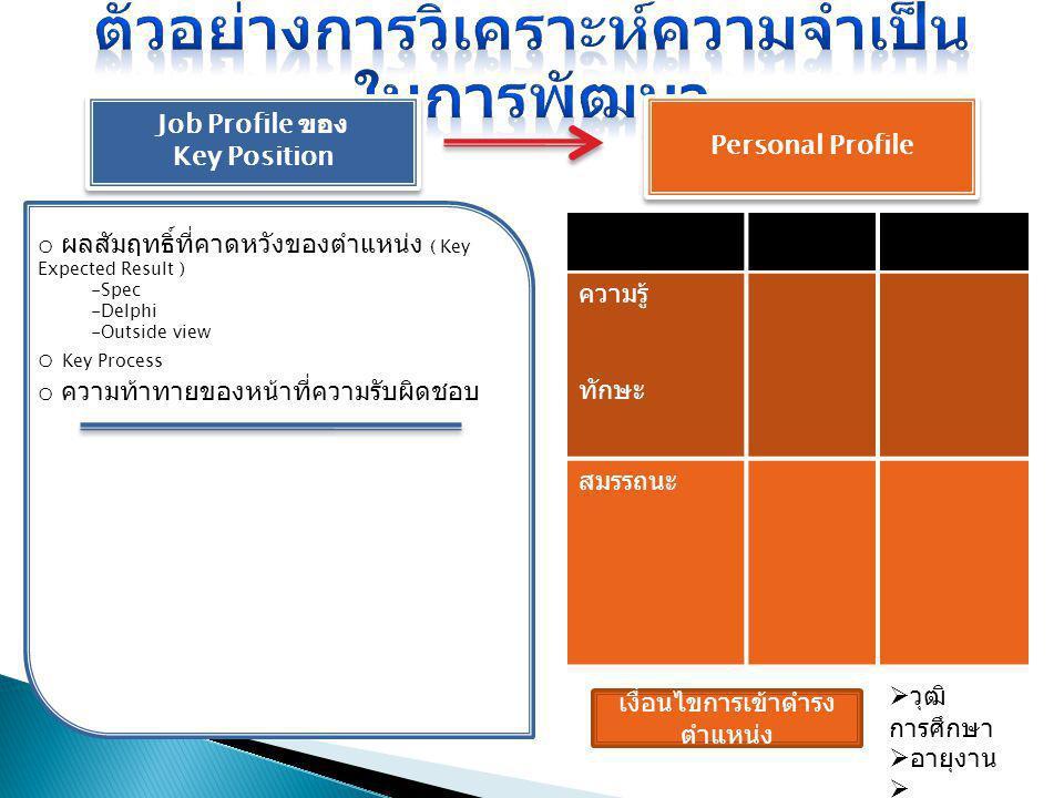 Job Profile ของ Key Position Job Profile ของ Key Position Personal Profile ความรู้ ทักษะ สมรรถนะ เงื่อนไขการเข้าดำรง ตำแหน่ง  วุฒิ การศึกษา  อายุงาน