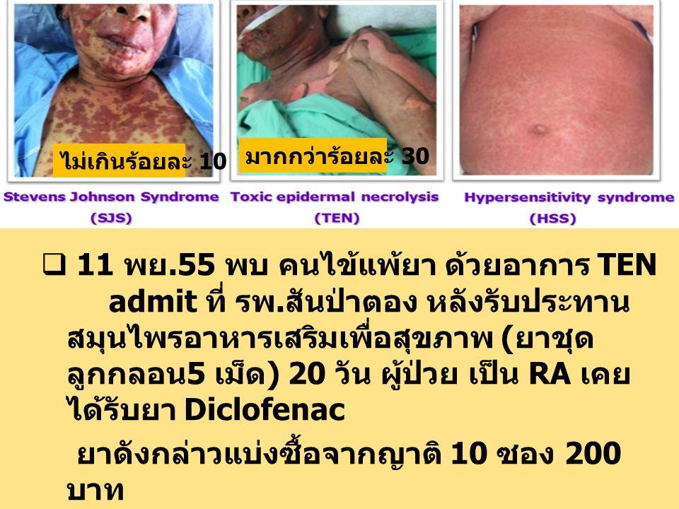  11 พย.55 พบ คนไข้แพ้ยา ด้วยอาการ TEN admit ที่ รพ.