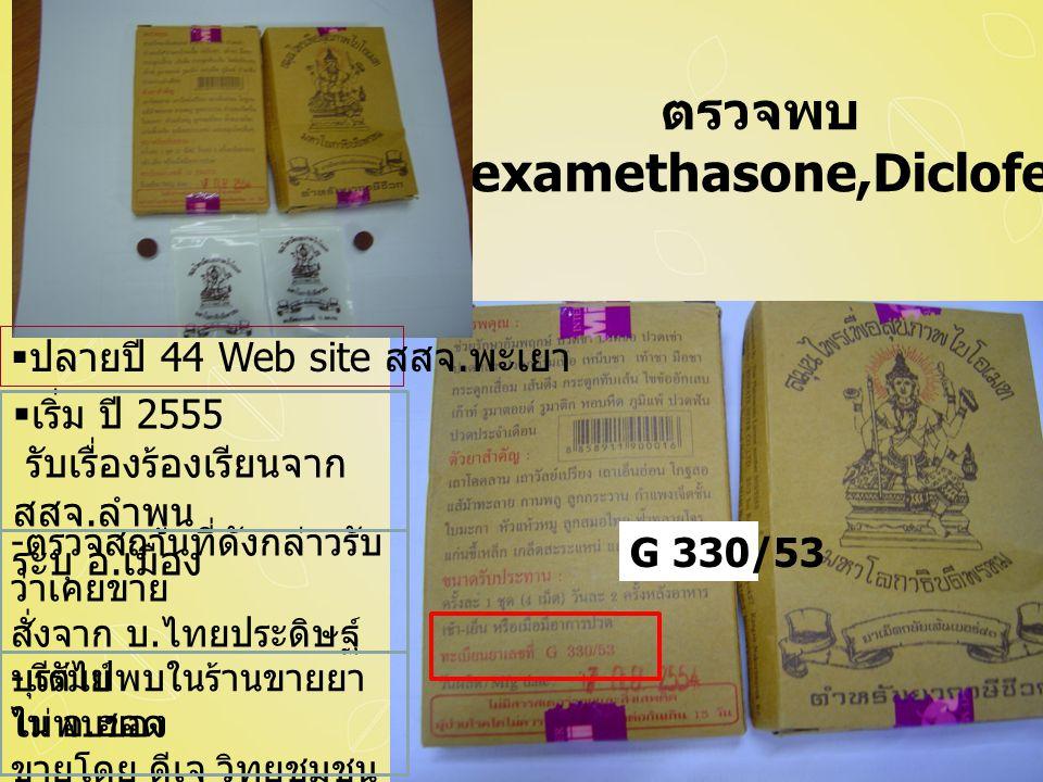 ตรวจพบ - Dexamethasone,Diclofenac G 330/53  ปลายปี 44 Web site สสจ.