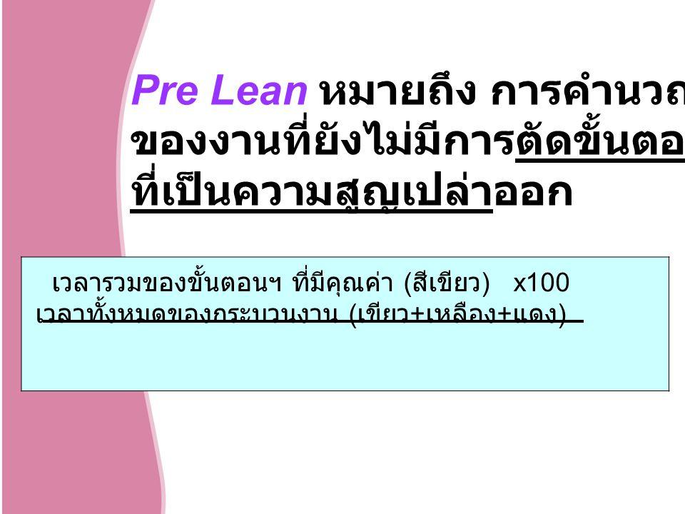 Pre Lean หมายถึง การคำนวณประสิทธิภาพ ของงานที่ยังไม่มีการตัดขั้นตอน หรือกิจกรรม ที่เป็นความสูญเปล่าออก เวลารวมของขั้นตอนฯ ที่มีคุณค่า ( สีเขียว ) x100 เวลาทั้งหมดของกระบวนงาน ( เขียว + เหลือง + แดง )