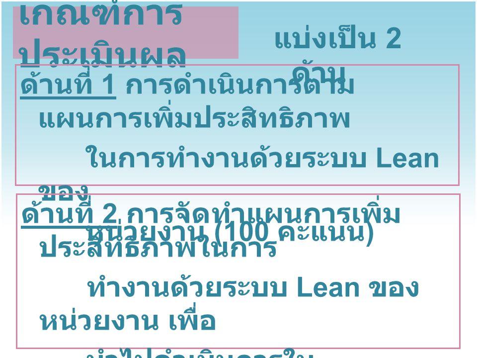 ด้านที่ 1 การดำเนินการตามแผนการเพิ่ม ประสิทธิภาพในการทำงานด้วยระบบ Lean ของหน่วยงาน (100 คะแนน ) แบ่งเป็น 2 องค์ประกอบ ประสิทธิภาพการ ดำเนินงาน (30 คะแนน ) (A) ผลสำเร็จของการ ดำเนินการตาม ตัวชี้วัด (70 คะแนน ) (B) ประสิทธิภาพที่ทำได้ จริง * X 30 Post Lean ผลสำเร็จที่ทำได้ จริง X 70 เป้าหมายของตัวชี้วัดที่ กำหนด ผลสำเร็จการเพิ่ม ประสิทธิภาพ ในการทำงานด้วย ระบบ Lean = A + B x 100 100 * ไม่จำกัดจำนวนครั้งที่ทำ ใช้ผลลัพธ์สูงสุด แต่ต้องการดำเนินการตามแผนฯ ทุกครั้ง
