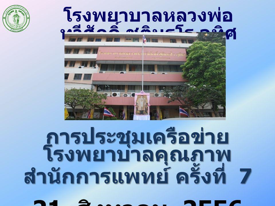 การประชุมเครือข่าย โรงพยาบาลคุณภาพ สำนักการแพทย์ ครั้งที่ 7 21 สิงหาคม 2556 โรงพยาบาลหลวงพ่อ ทวีศักดิ์ ชุตินฺธโร อุทิศ
