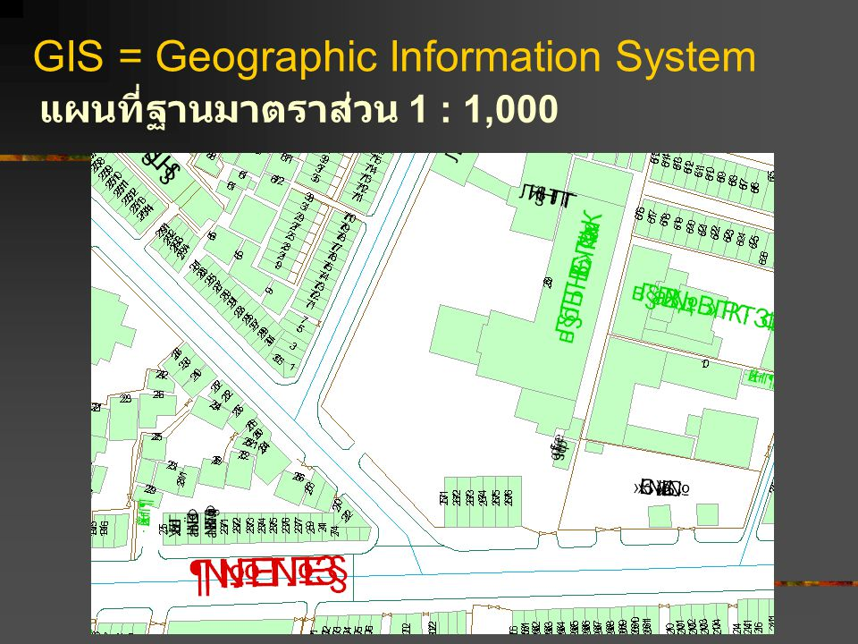 GIS = Geographic Information System แผนที่ฐานมาตราส่วน 1 : 1,000
